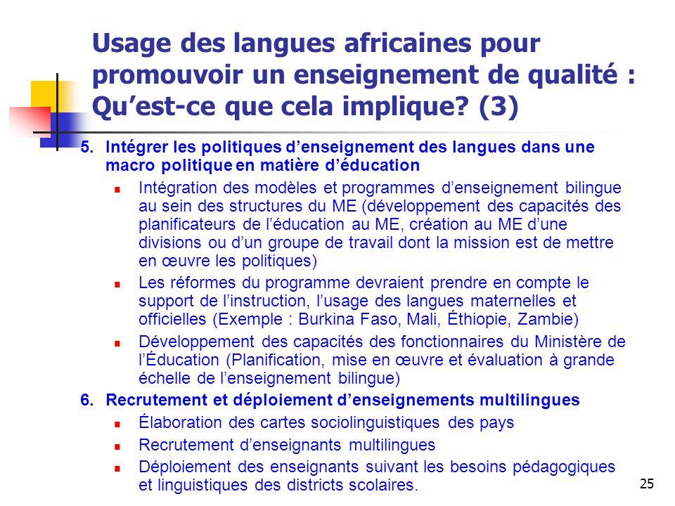 Usage des langues africaines pour promouvoir un enseignement de qualité : Qu'est-ce que cela implique (3)