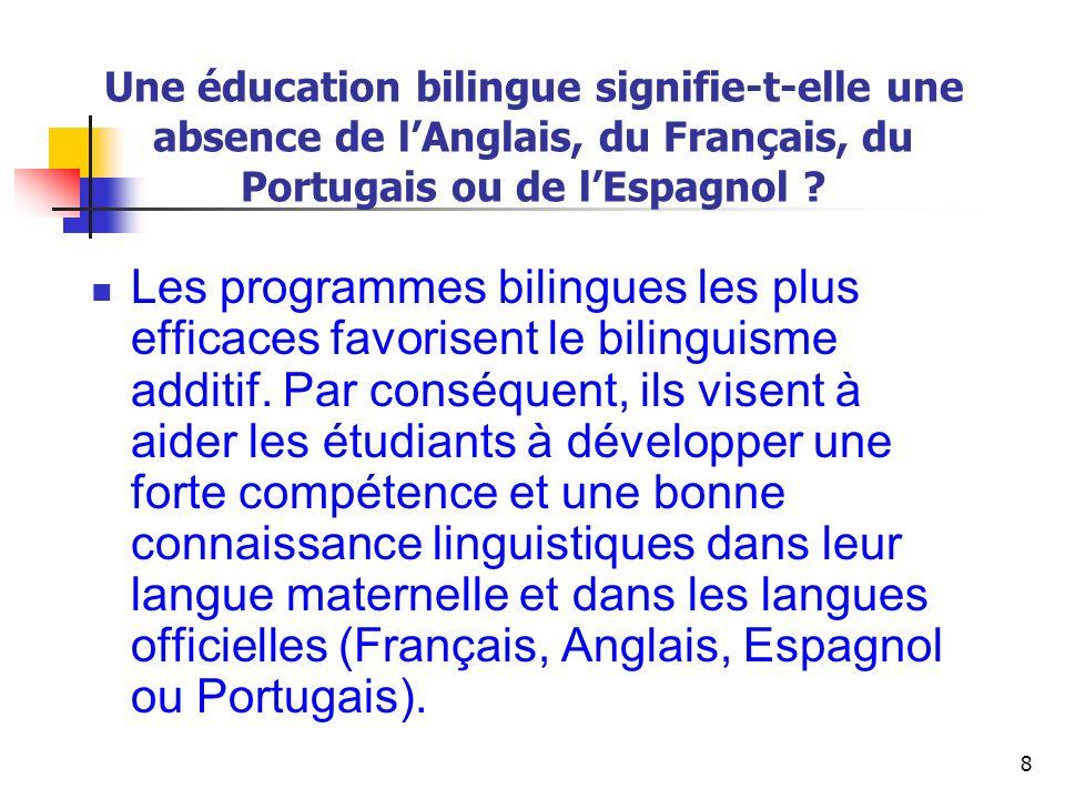 Une éducation bilingue signifie-t-elle une absence de l'Anglais, du Français, du Portugais ou de l'Espagnol
