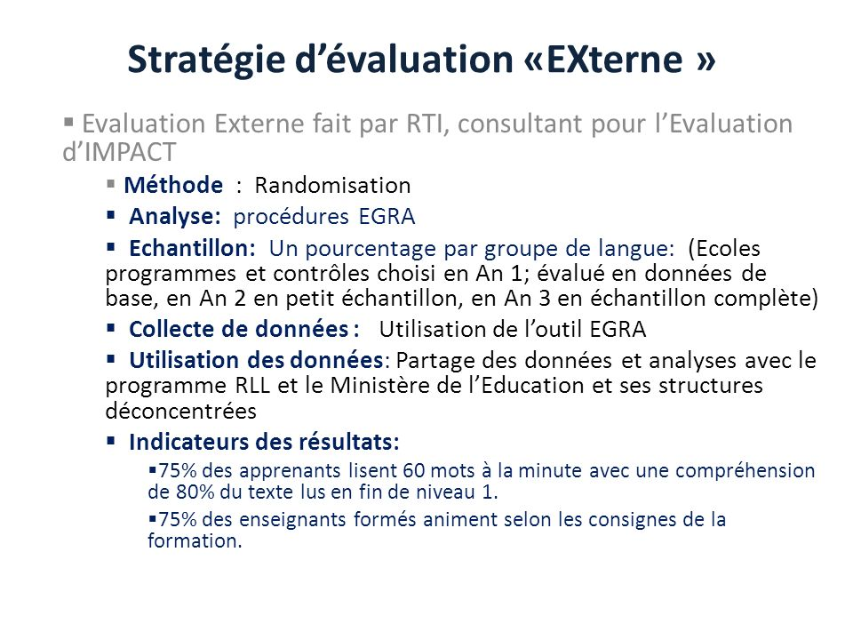 Stratégie d'évaluation «EXterne »