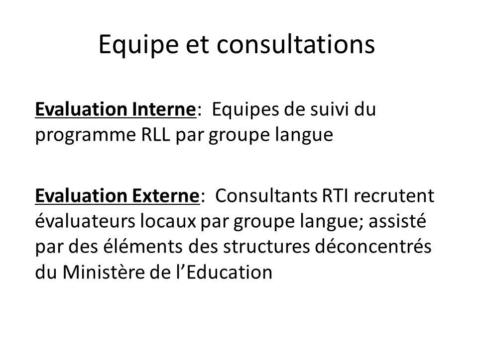 Equipe et consultations