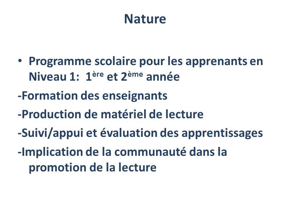 Nature Programme scolaire pour les apprenants en Niveau 1: 1ère et 2ème année. -Formation des enseignants.