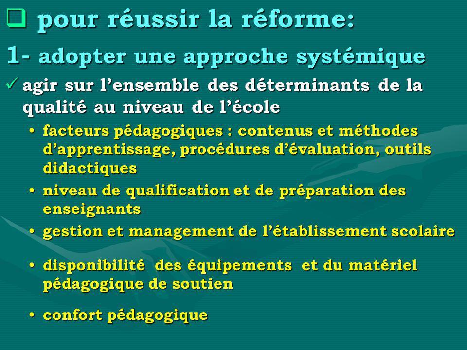 pour réussir la réforme:
