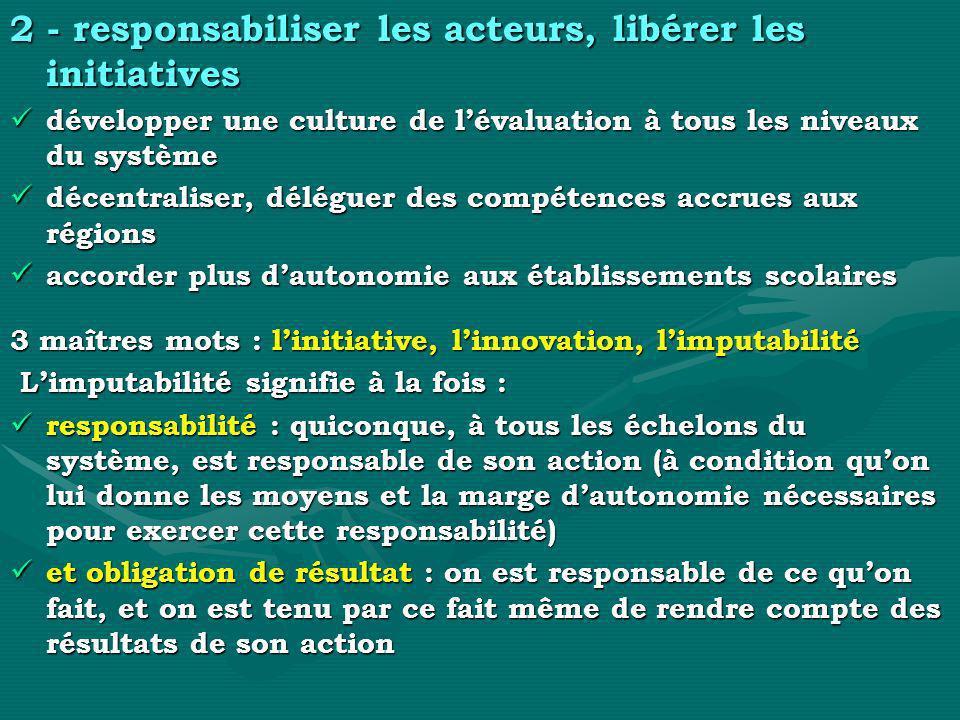 2 - responsabiliser les acteurs, libérer les initiatives
