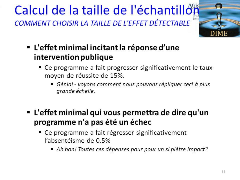 Calcul de la taille de l échantillon COMMENT CHOISIR LA TAILLE DE L EFFET DÉTECTABLE