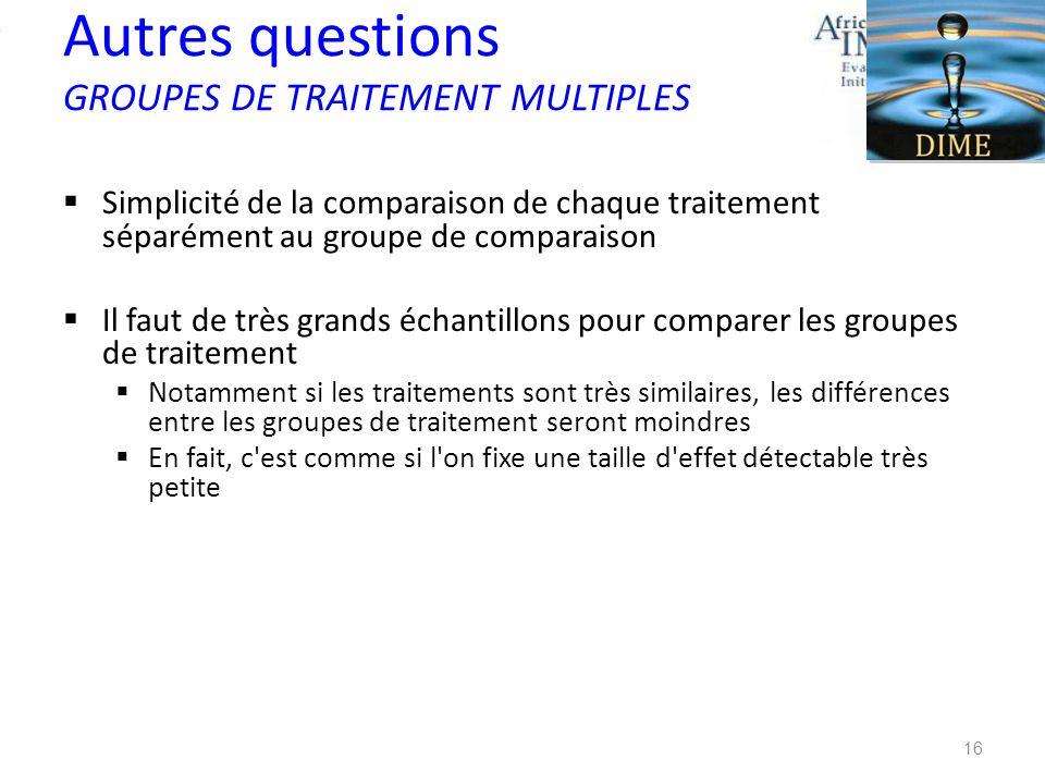 Autres questions GROUPES DE TRAITEMENT MULTIPLES