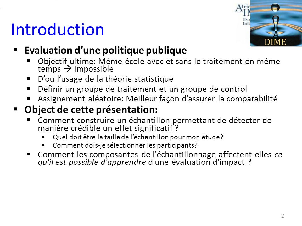 Introduction Evaluation d'une politique publique