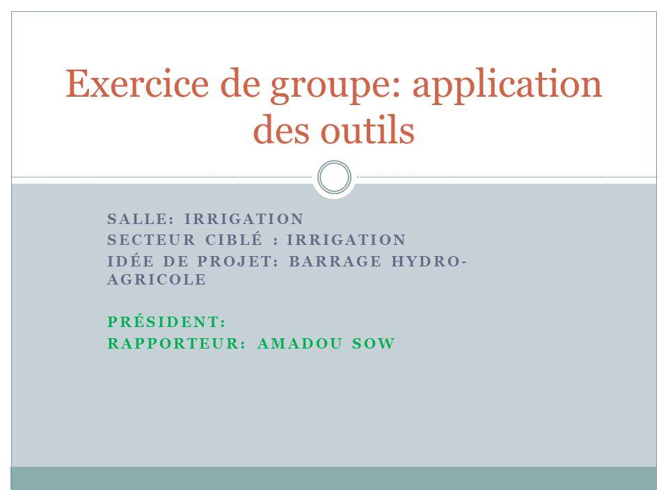 Exercice de groupe: application des outils