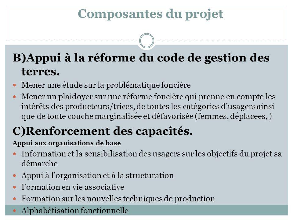 Composantes du projet B)Appui à la réforme du code de gestion des terres. Mener une étude sur la problématique foncière.