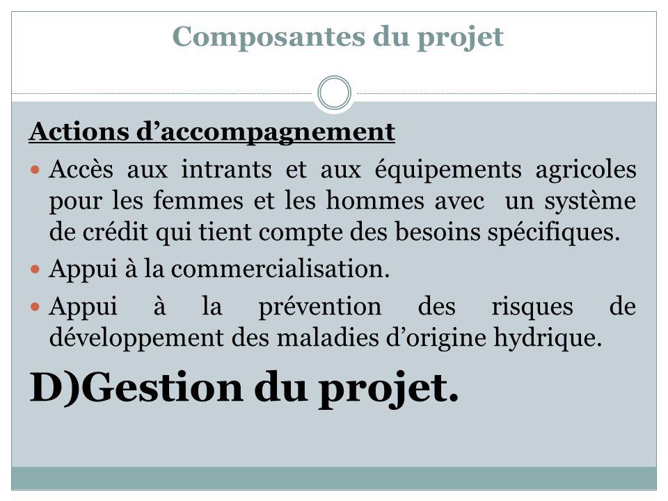 D)Gestion du projet. Composantes du projet Actions d'accompagnement