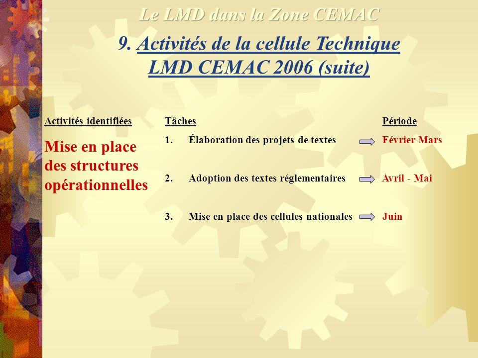 9. Activités de la cellule Technique LMD CEMAC 2006 (suite)