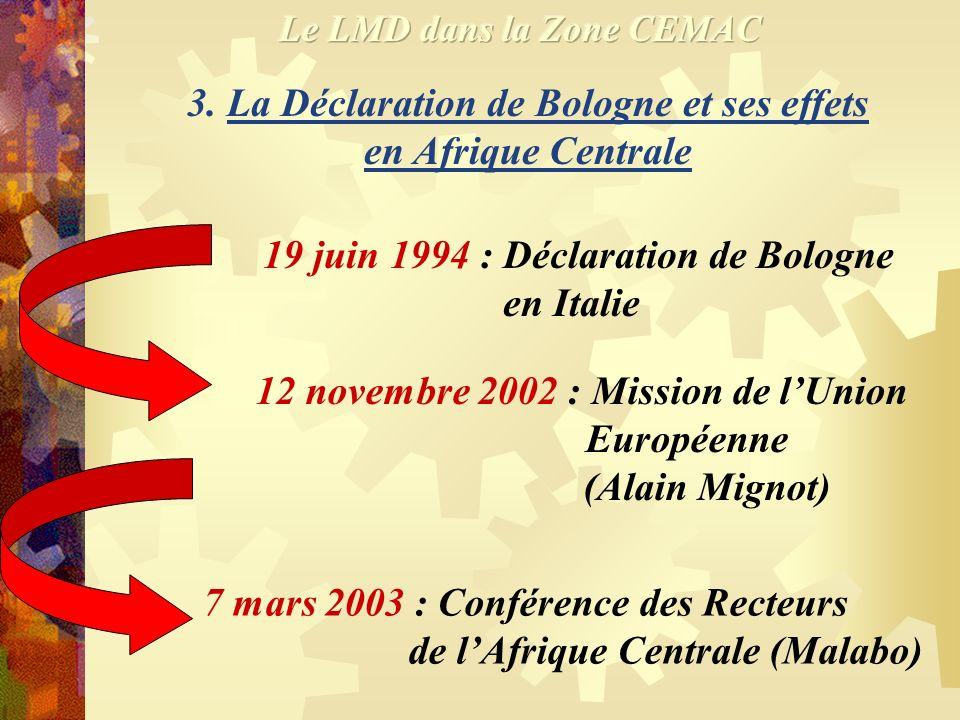 3. La Déclaration de Bologne et ses effets en Afrique Centrale
