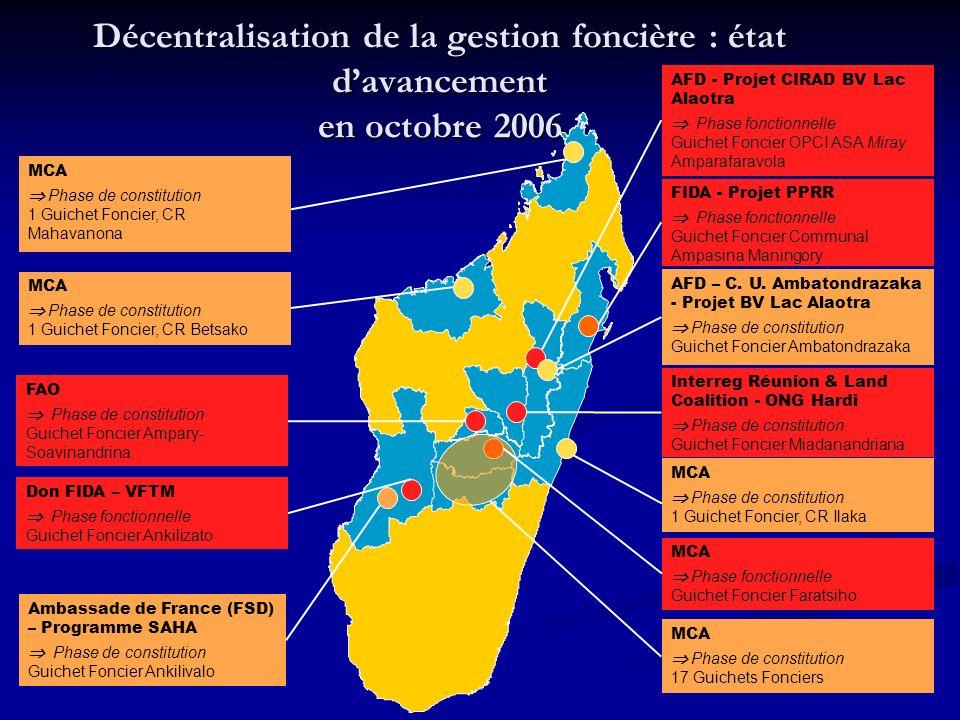 Décentralisation de la gestion foncière : état d'avancement en octobre 2006