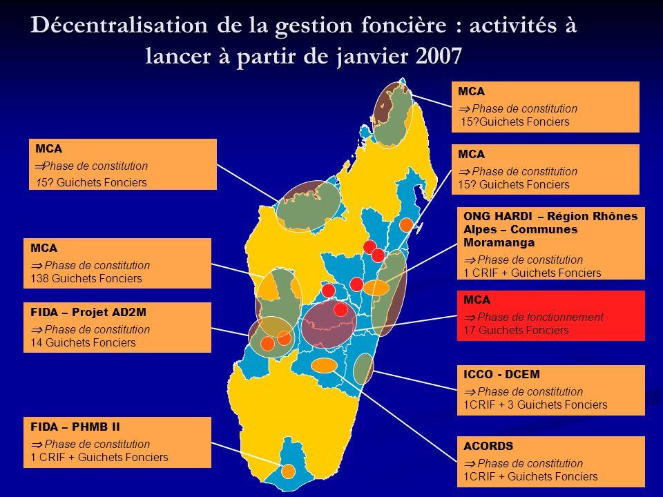 Décentralisation de la gestion foncière : activités à lancer à partir de janvier 2007