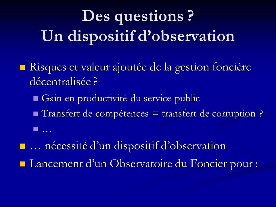 Des questions Un dispositif d'observation