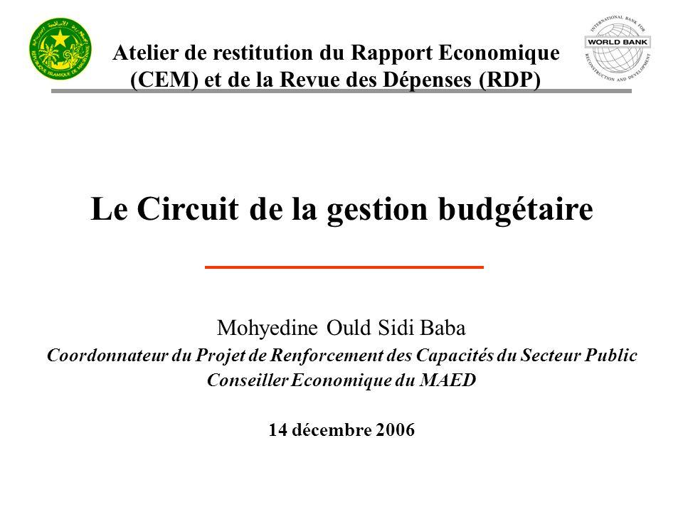Le Circuit de la gestion budgétaire Conseiller Economique du MAED