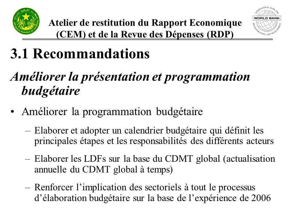 3.1 Recommandations Améliorer la présentation et programmation budgétaire. Améliorer la programmation budgétaire.