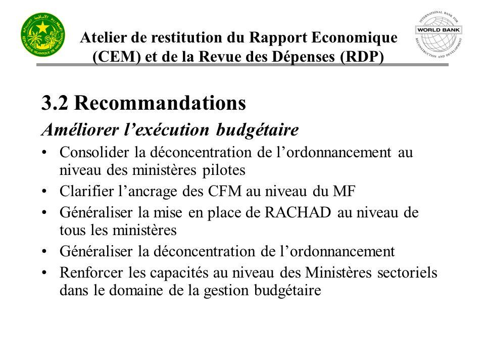3.2 Recommandations Améliorer l'exécution budgétaire
