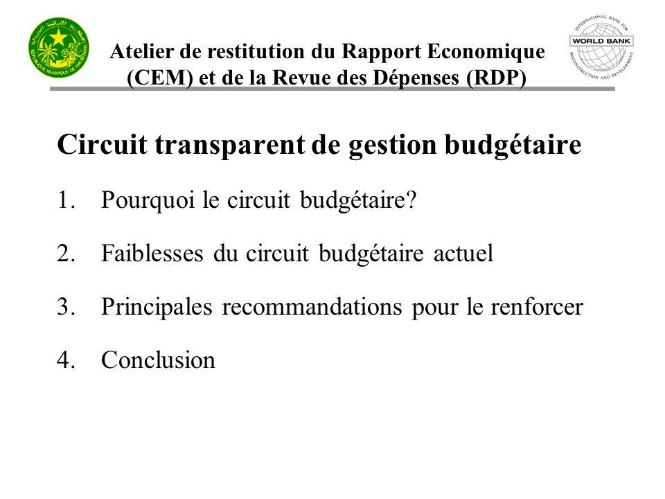 Circuit transparent de gestion budgétaire