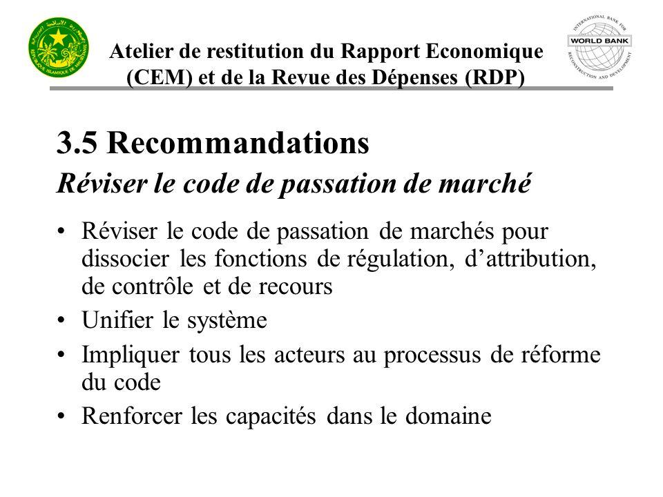 3.5 Recommandations Réviser le code de passation de marché