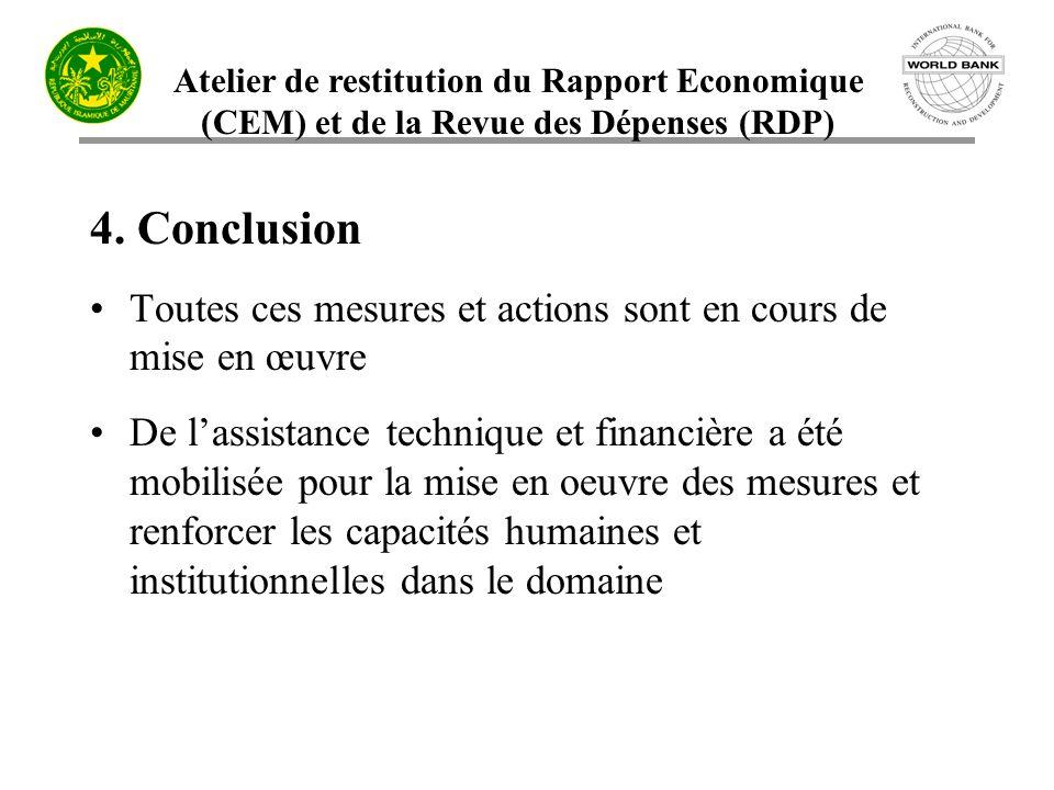 4. Conclusion Toutes ces mesures et actions sont en cours de mise en œuvre.
