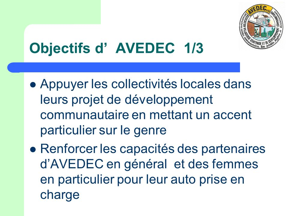 Objectifs d' AVEDEC 1/3