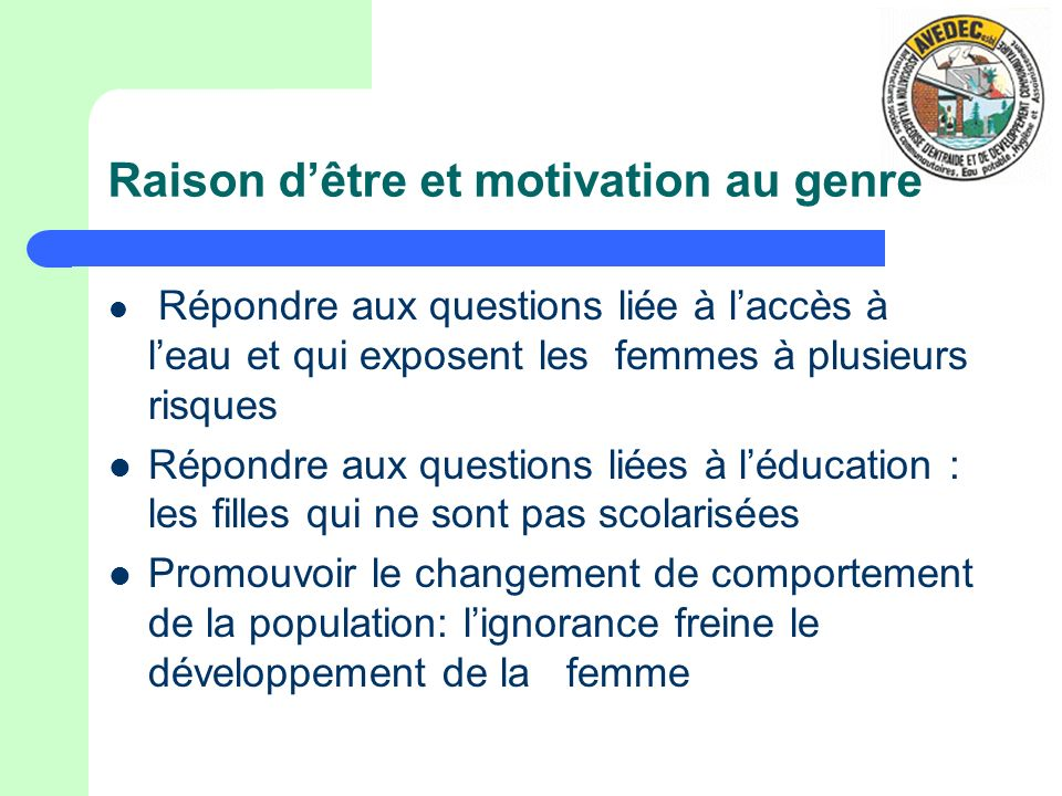 Raison d'être et motivation au genre