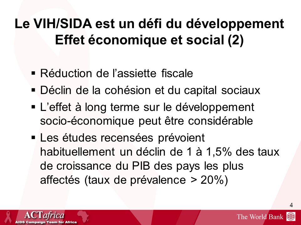 Le VIH/SIDA est un défi du développement Effet économique et social (2)