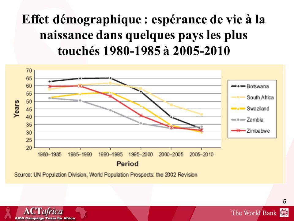 Effet démographique : espérance de vie à la naissance dans quelques pays les plus touchés 1980-1985 à 2005-2010