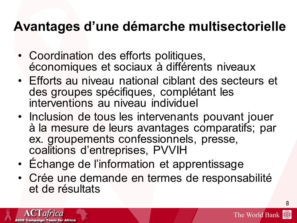 Avantages d'une démarche multisectorielle