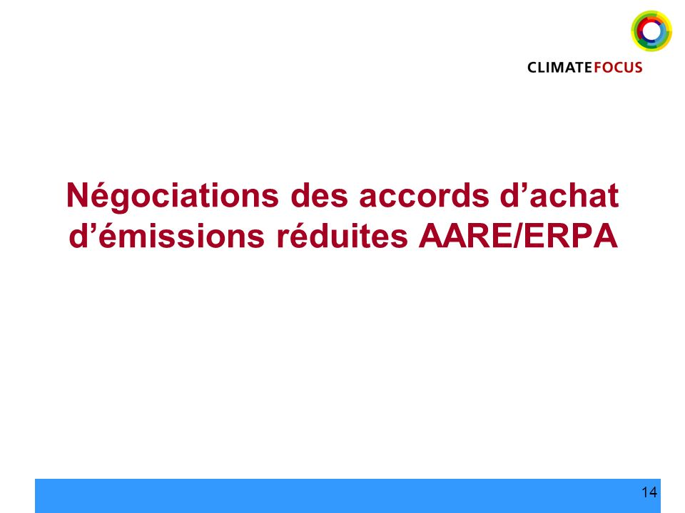 Négociations des accords d'achat d'émissions réduites AARE/ERPA