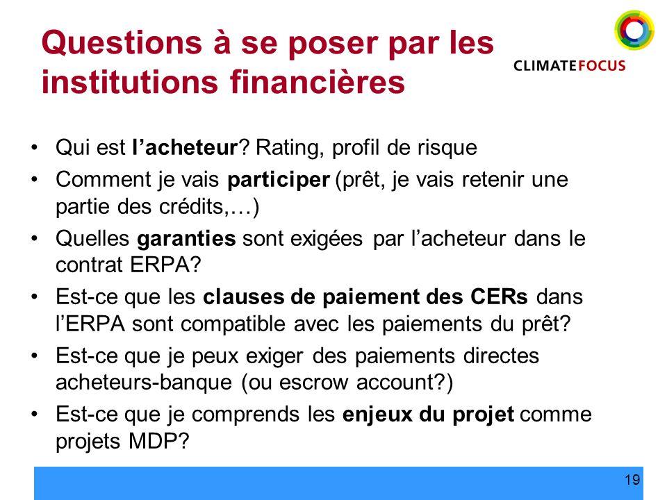 Questions à se poser par les institutions financières