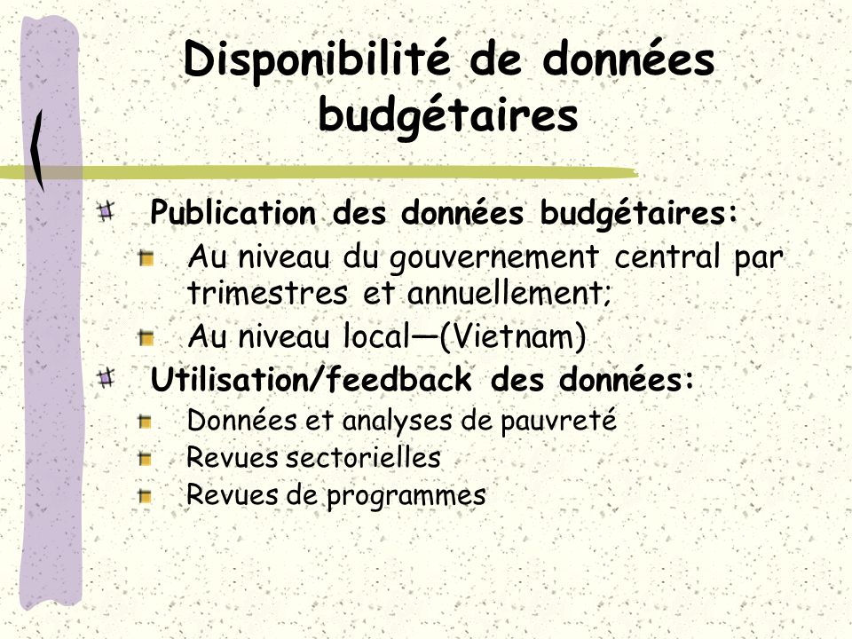 Disponibilité de données budgétaires