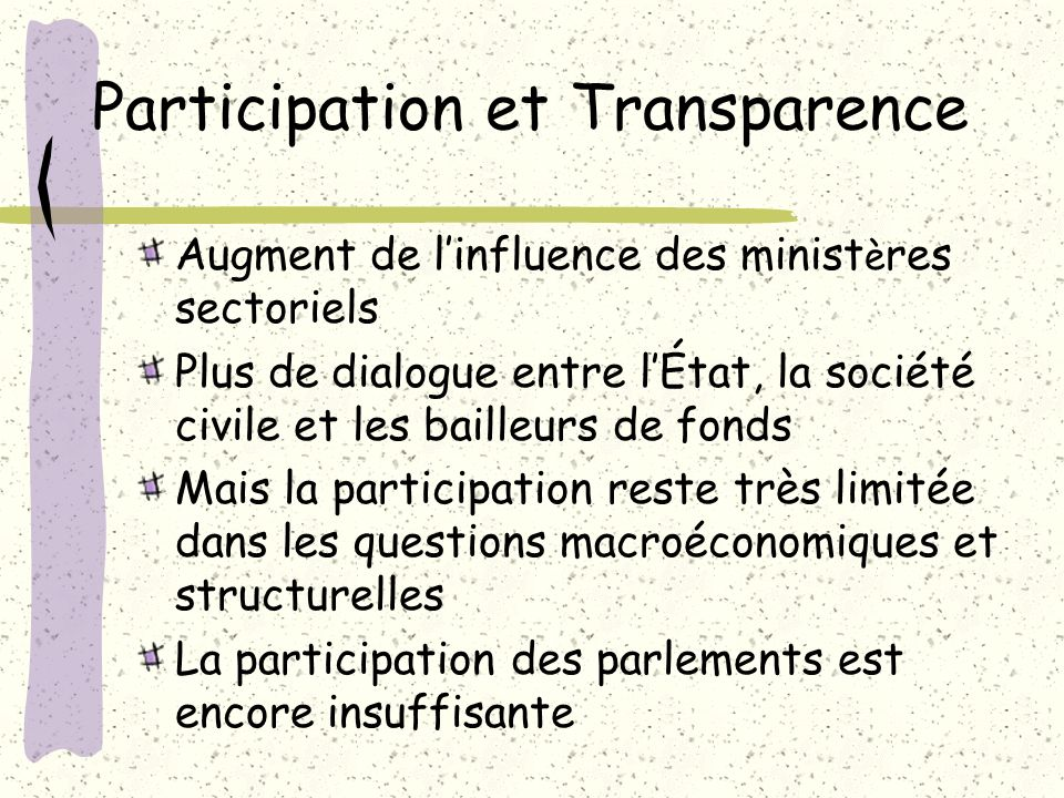 Participation et Transparence