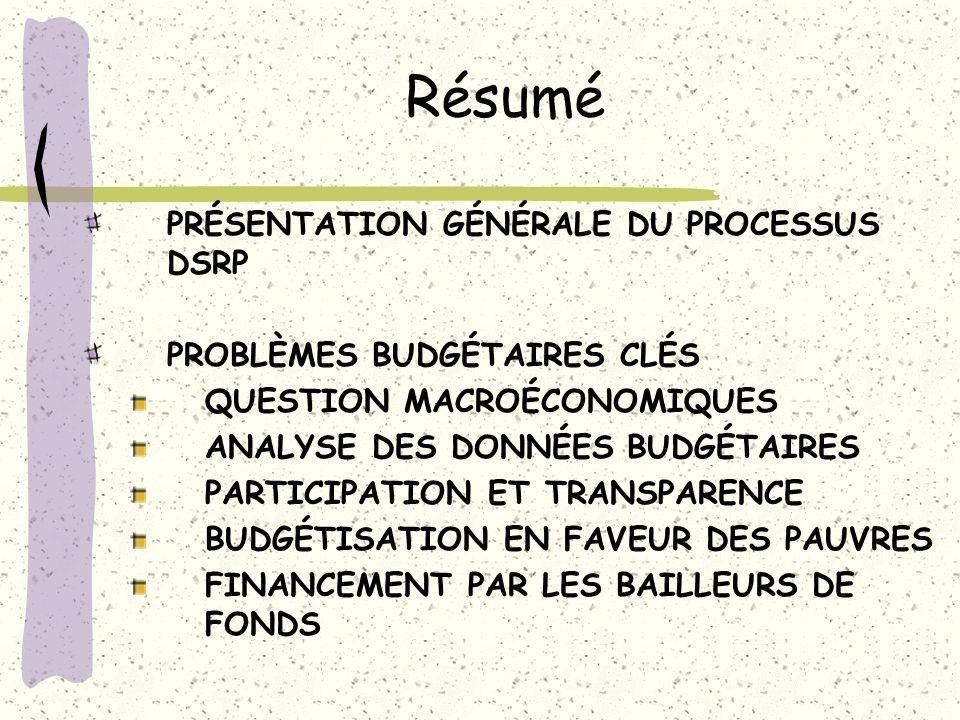 Résumé PRÉSENTATION GÉNÉRALE DU PROCESSUS DSRP