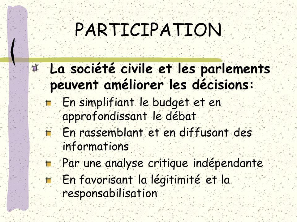 PARTICIPATION La société civile et les parlements peuvent améliorer les décisions: En simplifiant le budget et en approfondissant le débat.