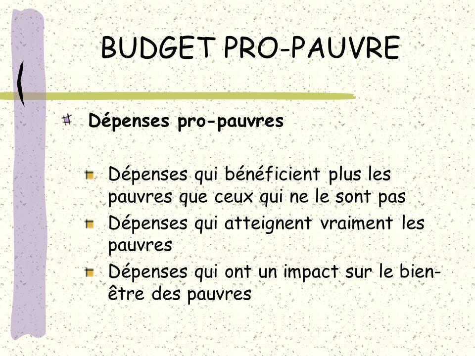 BUDGET PRO-PAUVRE Dépenses pro-pauvres