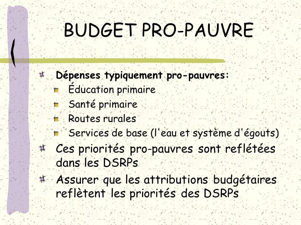 BUDGET PRO-PAUVRE Dépenses typiquement pro-pauvres: Éducation primaire. Santé primaire. Routes rurales.
