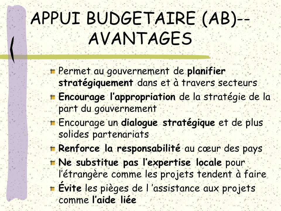 APPUI BUDGETAIRE (AB)--AVANTAGES