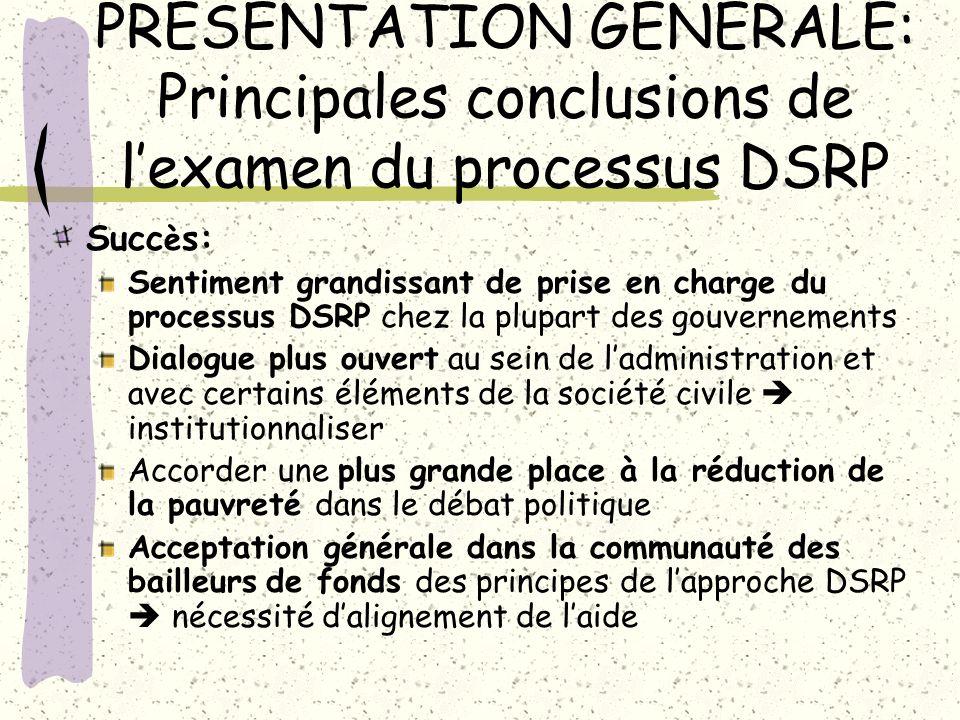 PRÉSENTATION GÉNÉRALE: Principales conclusions de l'examen du processus DSRP