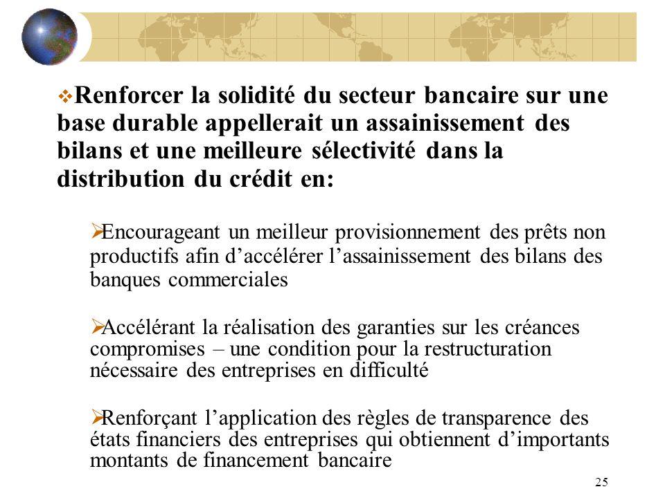 Renforcer la solidité du secteur bancaire sur une base durable appellerait un assainissement des bilans et une meilleure sélectivité dans la distribution du crédit en: