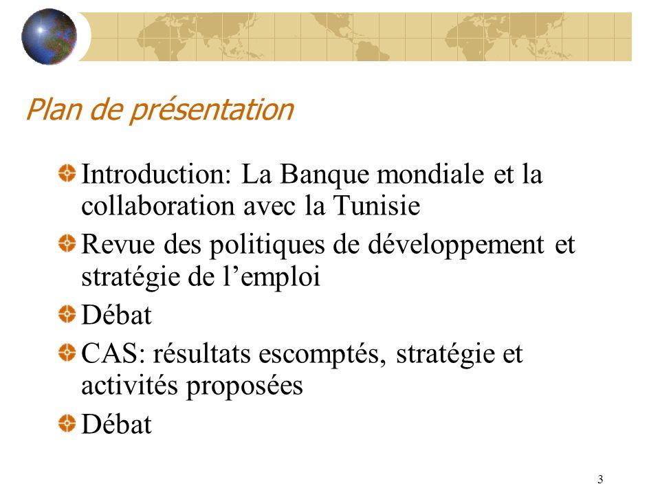 Plan de présentation Introduction: La Banque mondiale et la collaboration avec la Tunisie.