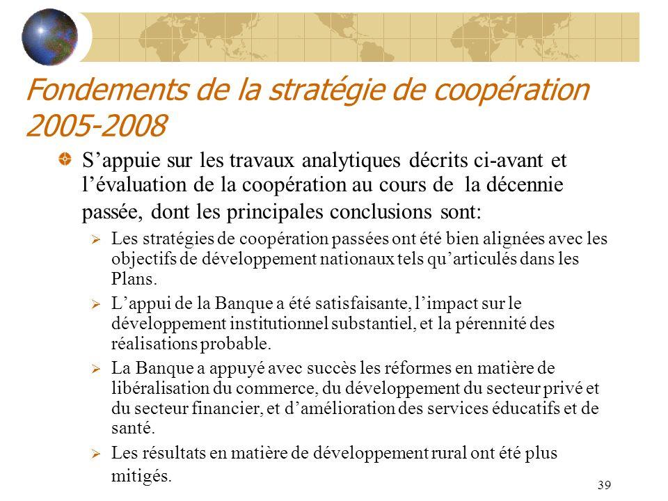 Fondements de la stratégie de coopération 2005-2008