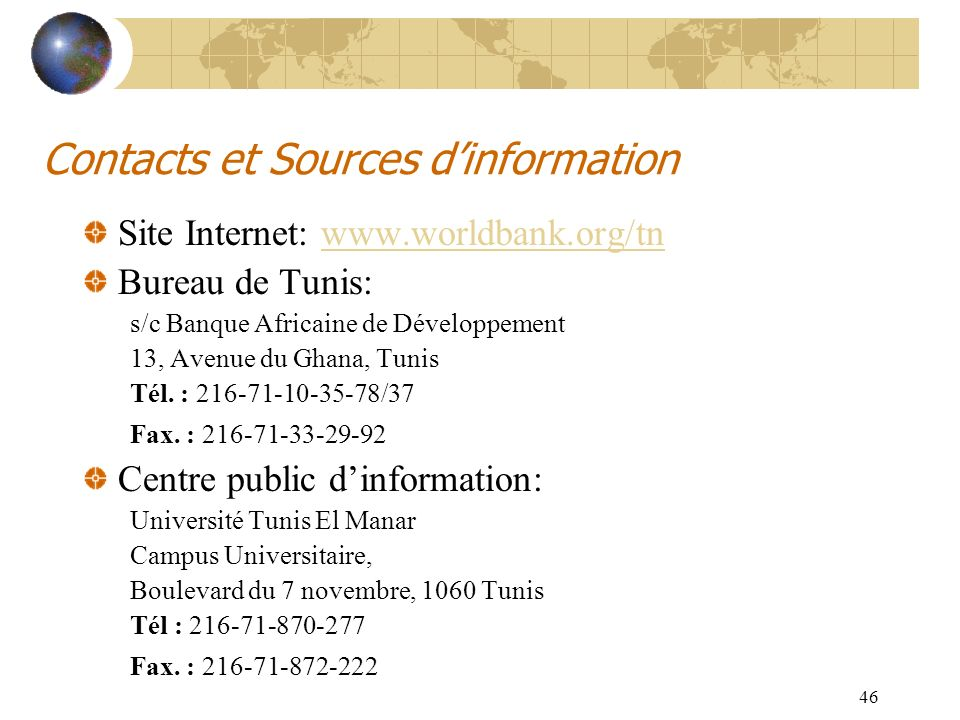 Contacts et Sources d'information