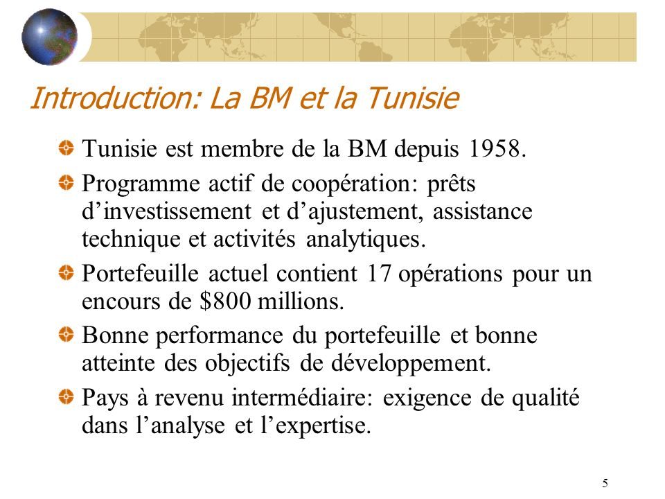 Introduction: La BM et la Tunisie