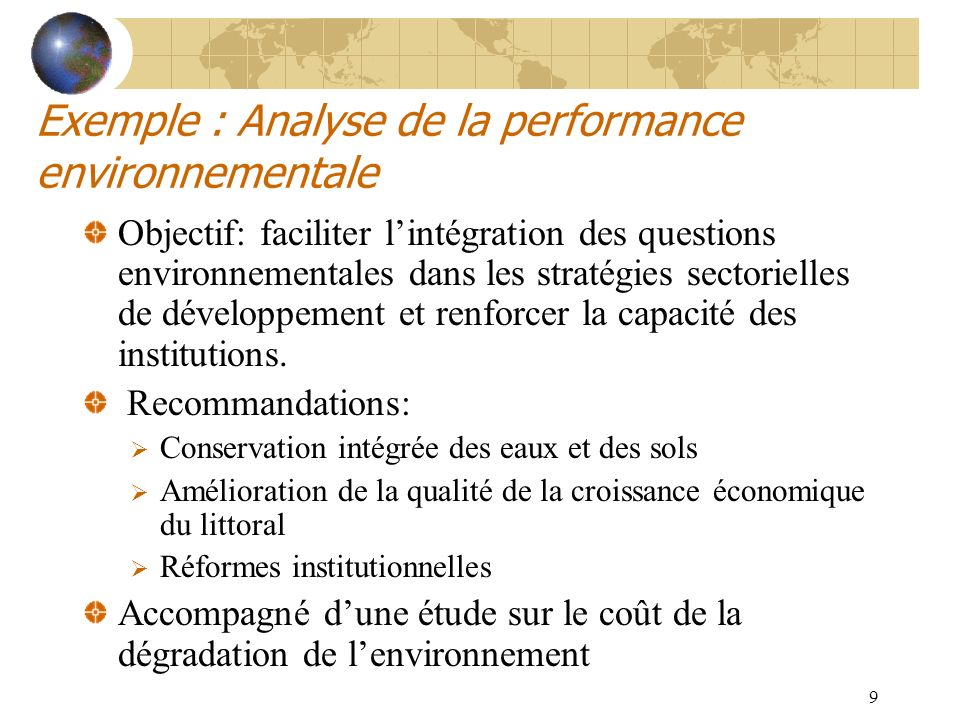 Exemple : Analyse de la performance environnementale
