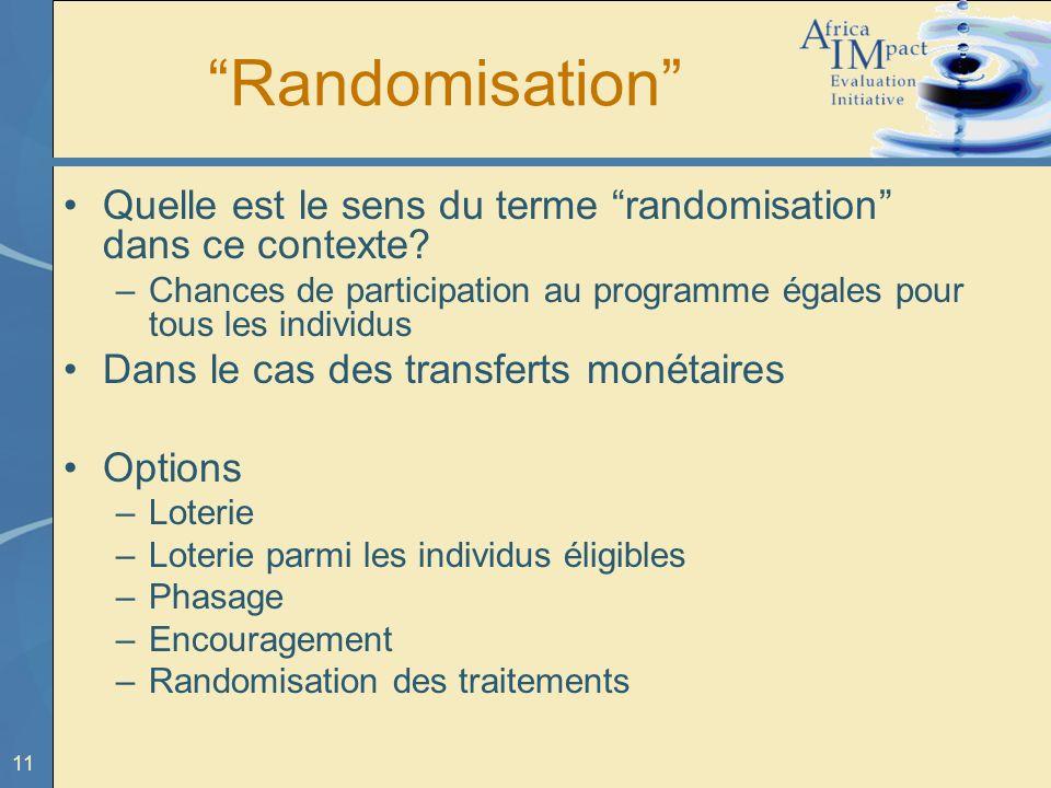 Randomisation Quelle est le sens du terme randomisation dans ce contexte Chances de participation au programme égales pour tous les individus.