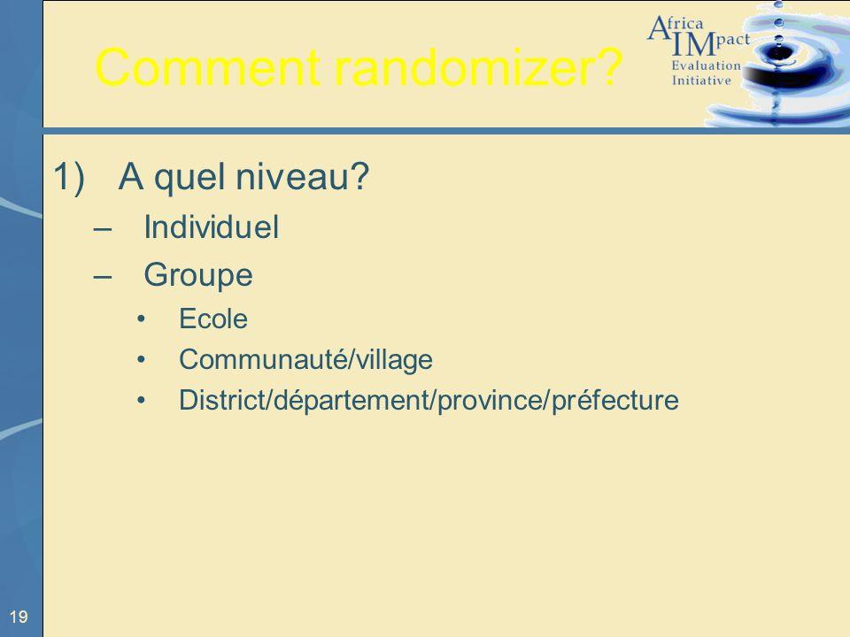 Comment randomizer A quel niveau Individuel Groupe Ecole