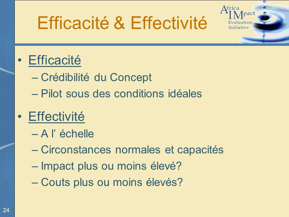 Efficacité & Effectivité