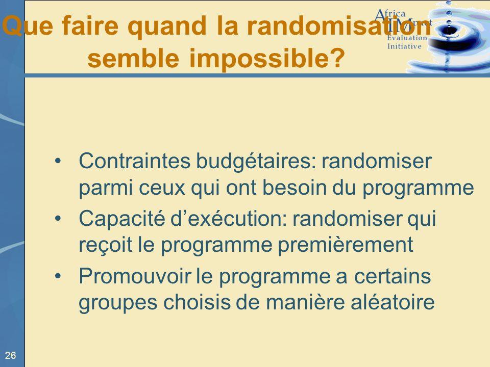 Que faire quand la randomisation semble impossible