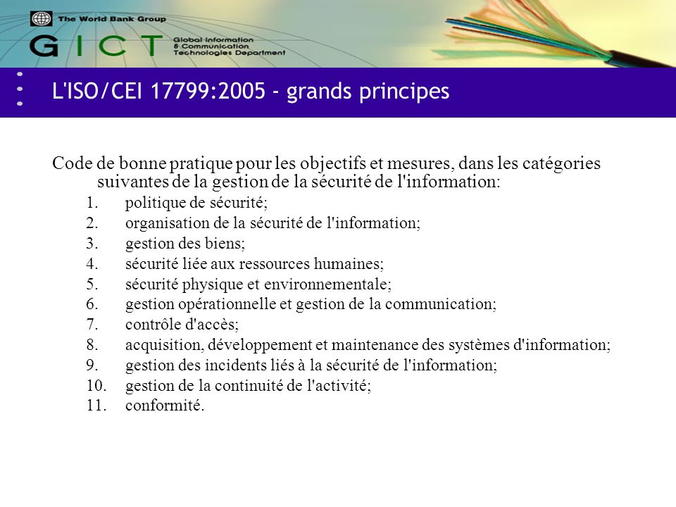 L ISO/CEI 17799:2005 - grands principes